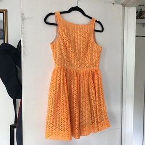 American Apparel Orange Lace Lined A-Line Dresss